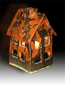 Mh Studios Fine Art Crafts Ceramic Candle House