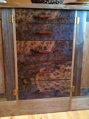 Walnut Burl drawer fronts